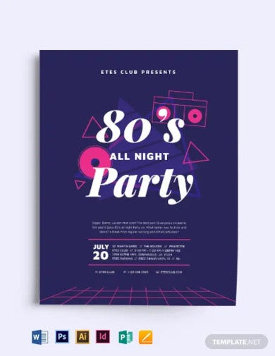 classics 80s party flyer template