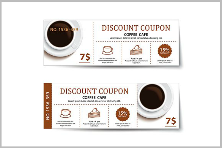 coffee coupon discount card template