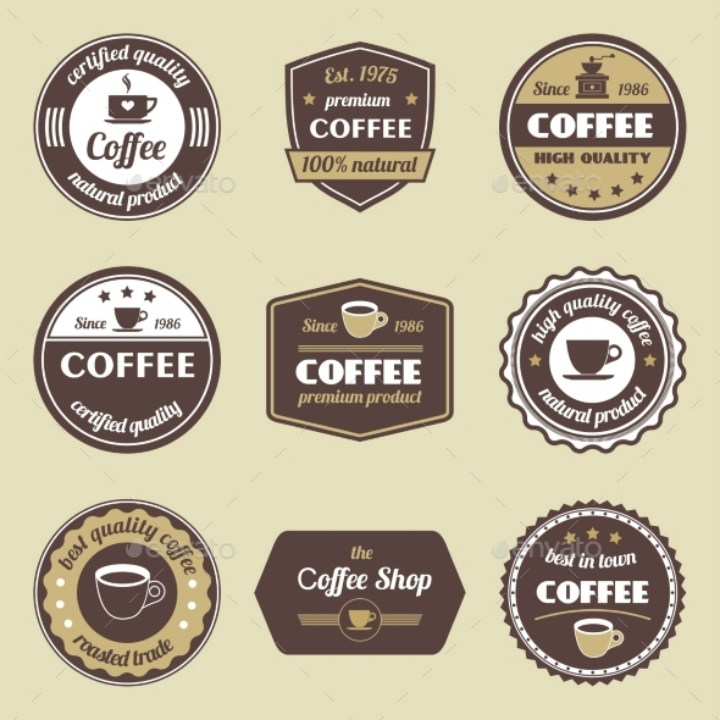 coffee label tag set template