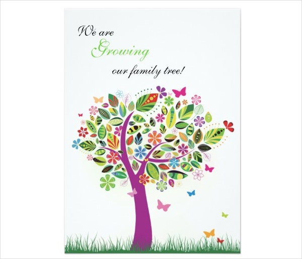 Colorful Pregnancy Announcement Card
