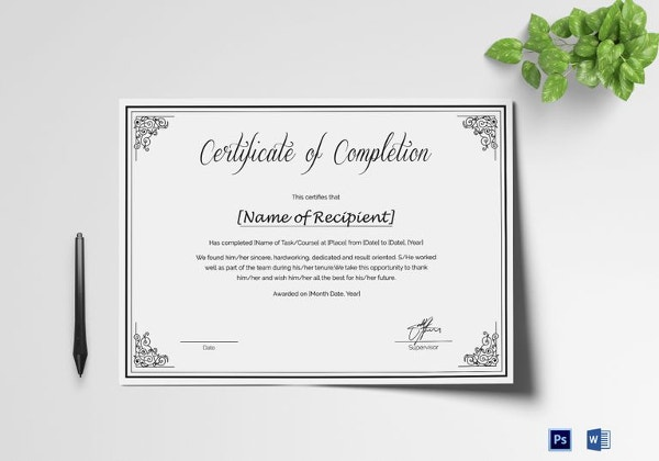 Custom-made Course Completion Certificate