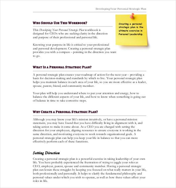 developing personal strategic plan