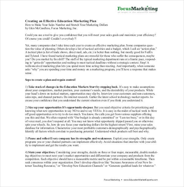 effective education marketing plan