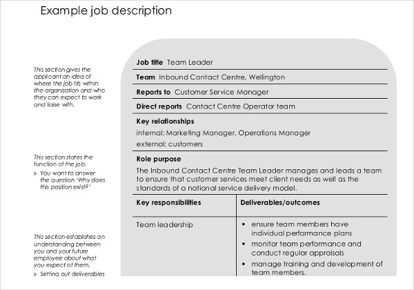 employee job description template
