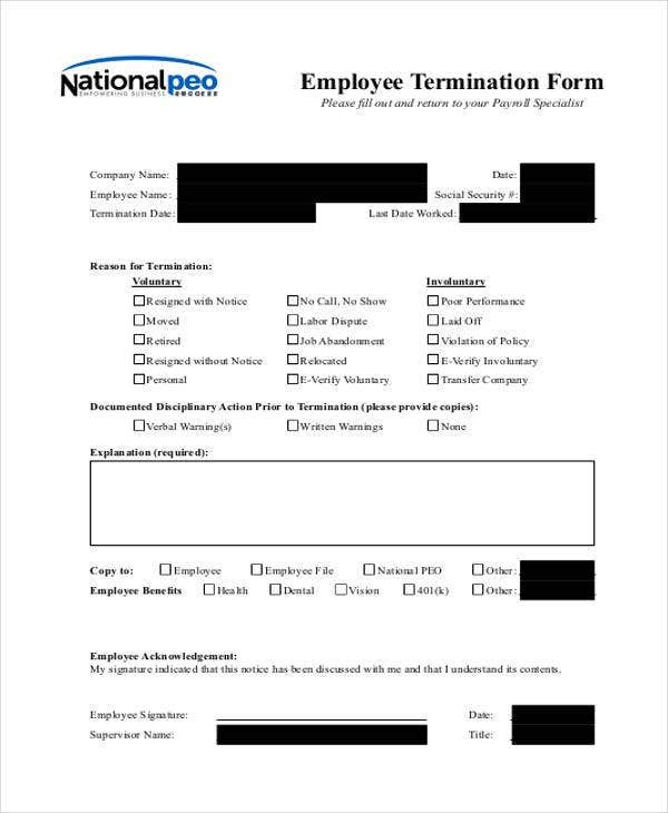 Employee Termination Form Example