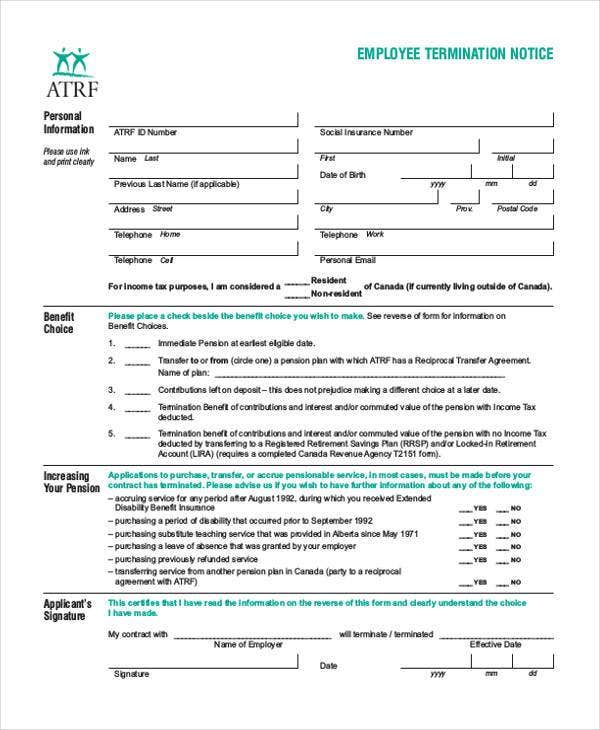Employee Termination Notice Form Example