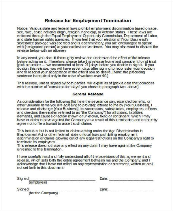 Employee Termination Release Form