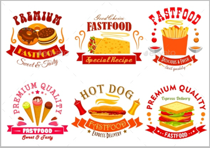 fast-food-restaurant-menu-labels-template-set