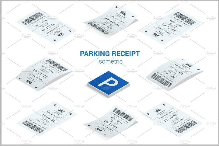 flat-illustration-parking-tickets-template-set