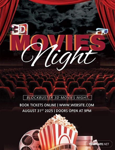 19 movie night flyer templates ai psd word free premium