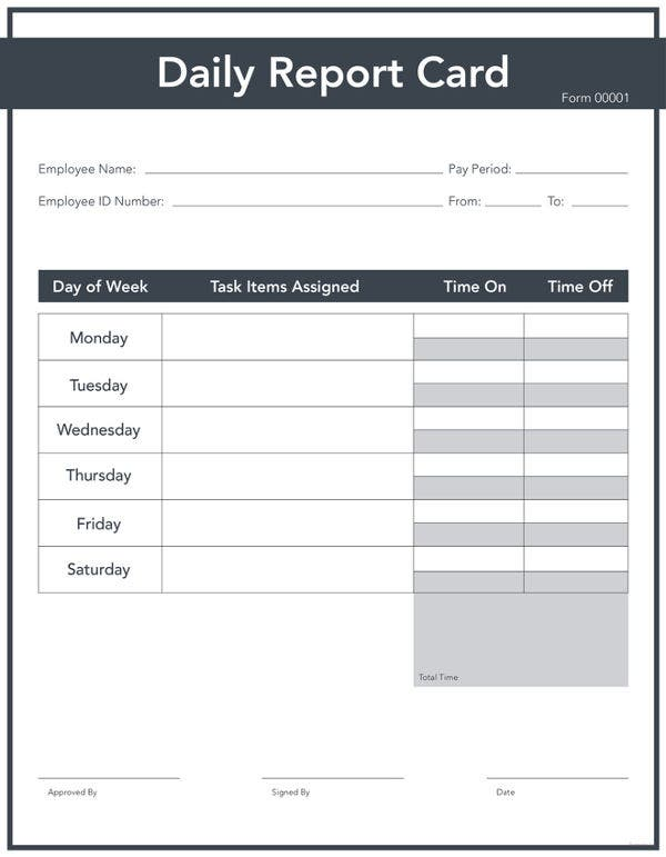 free daily report card template