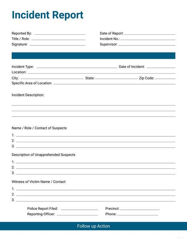 Incident Report Form   Free Word Pdf Documents Download  Free