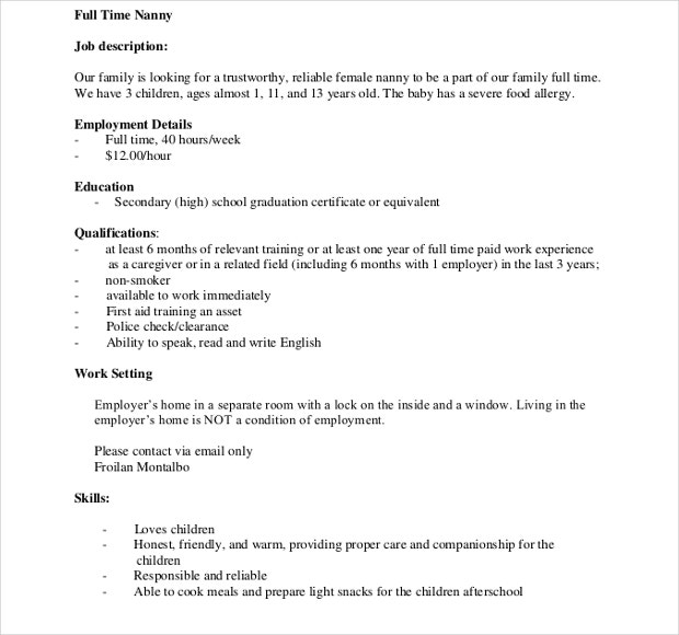 full time nanny job descriptions