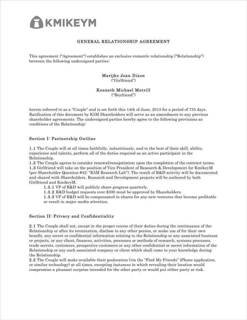 How to write a relationship contract agreement free for Love contract template