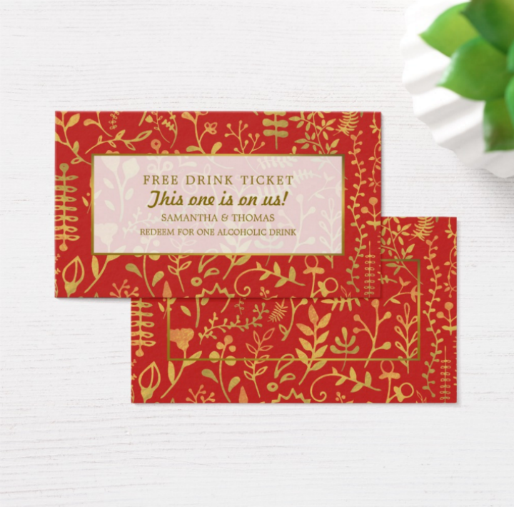 gold boho restaurant free drink ticket template
