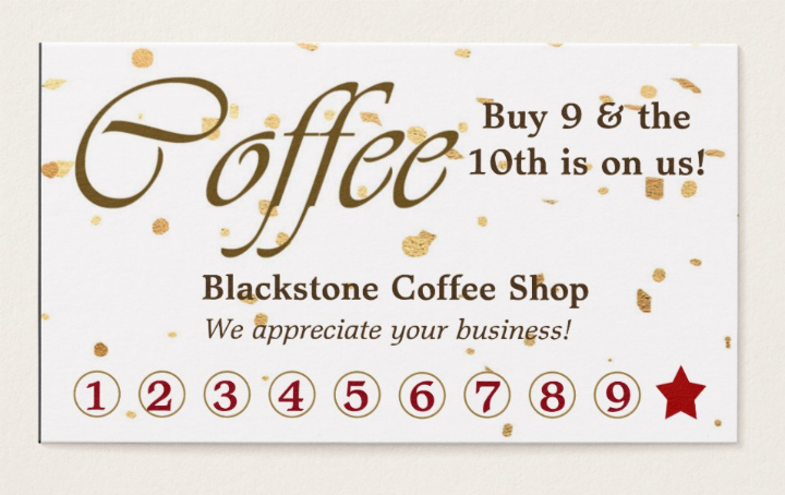gold confetti coffee business discount card template