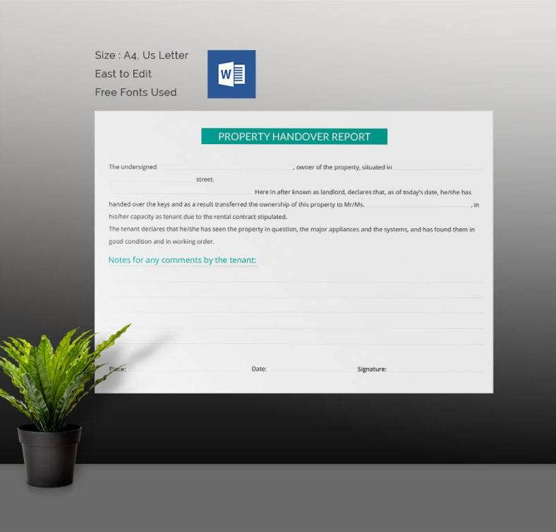 Property Handover Report Template