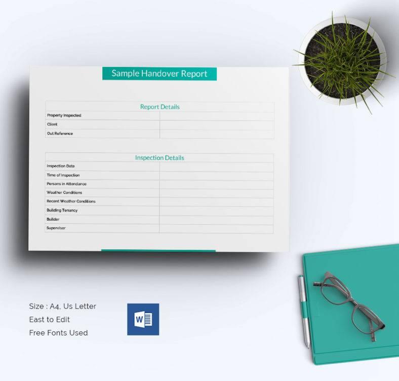 Handover Report Word Format