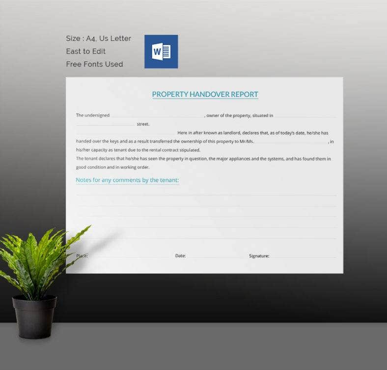 Simple Property Handover Report