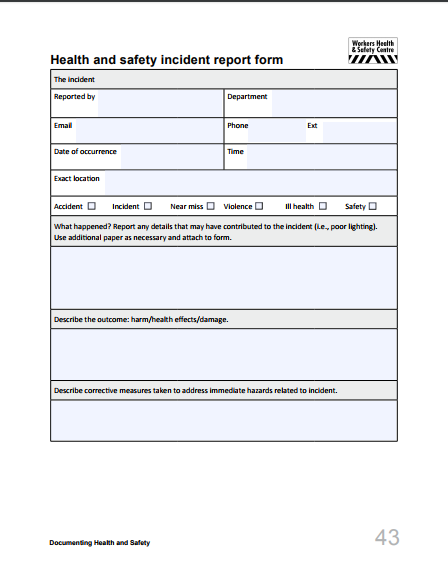 health and safety incident form