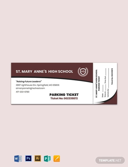 high school parking ticket template
