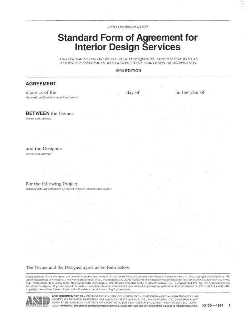 interior design proposal and agreements