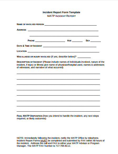 incident form template