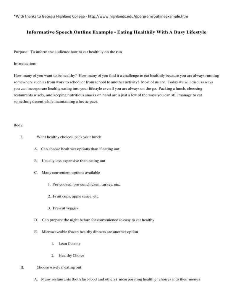 informative speech preparation outline