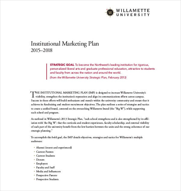 institutional marketing plan