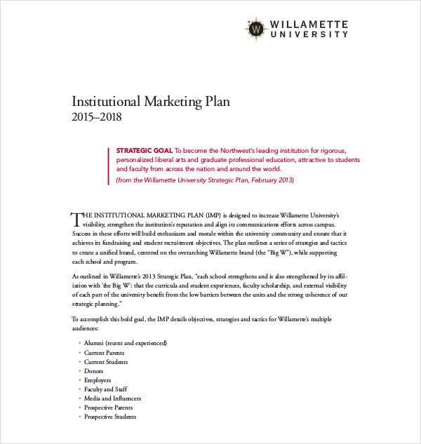 institutional marketing plan