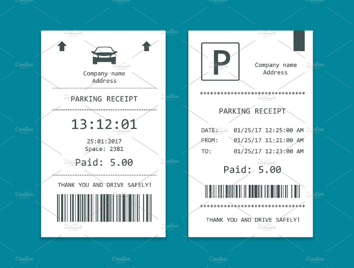 isometric-parking-ticket-template-set