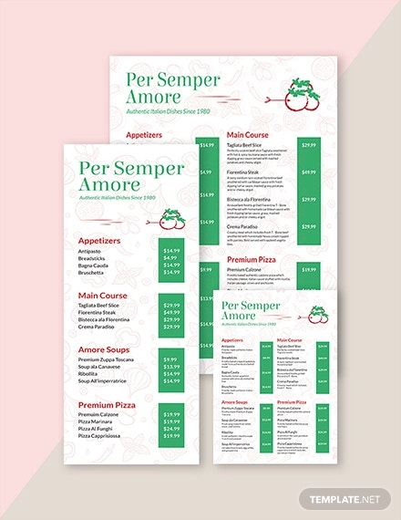 italian restaurant menu template1