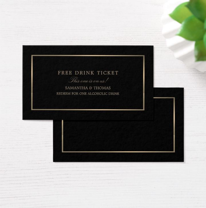 modern black gold free drink ticket template