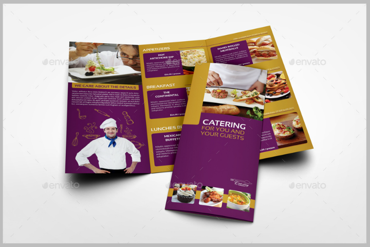 modern restaurant catering tri fold brochure template