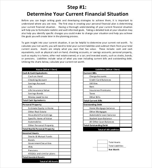 personal financial strategic plan