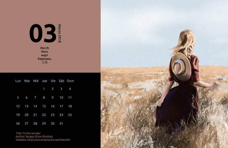 photo calendar design template 788x512