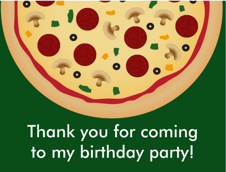 pizza birthday party thank you card template