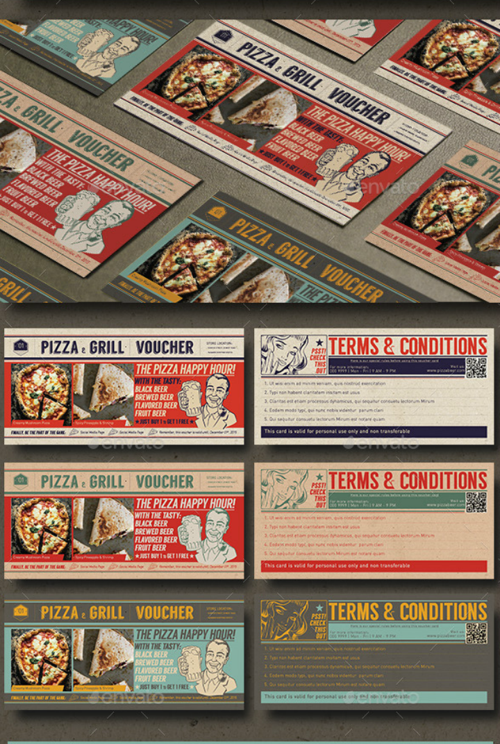 pizza cafe restaurant pop art discount card template