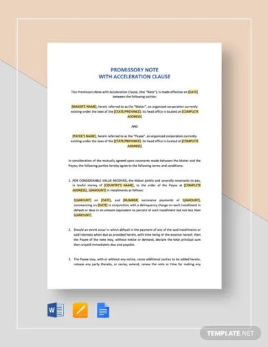 promissory note with acceleration clause template