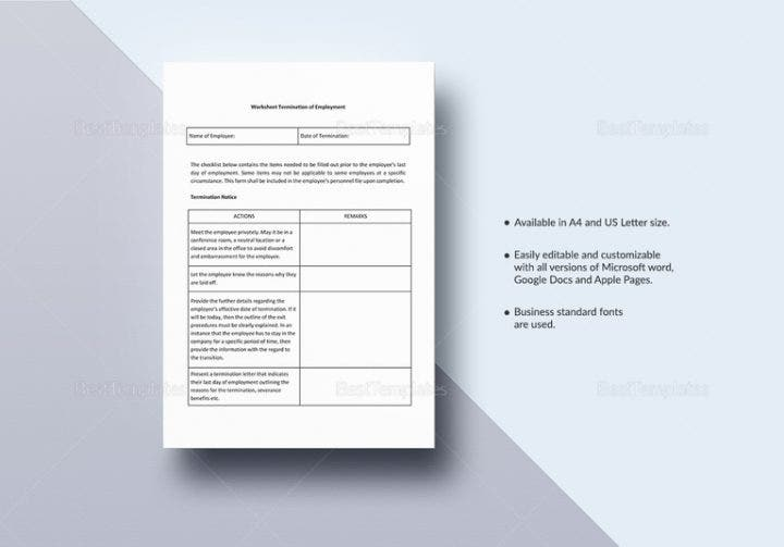 Employee Termination Templates  Word Pdf Excel  Free