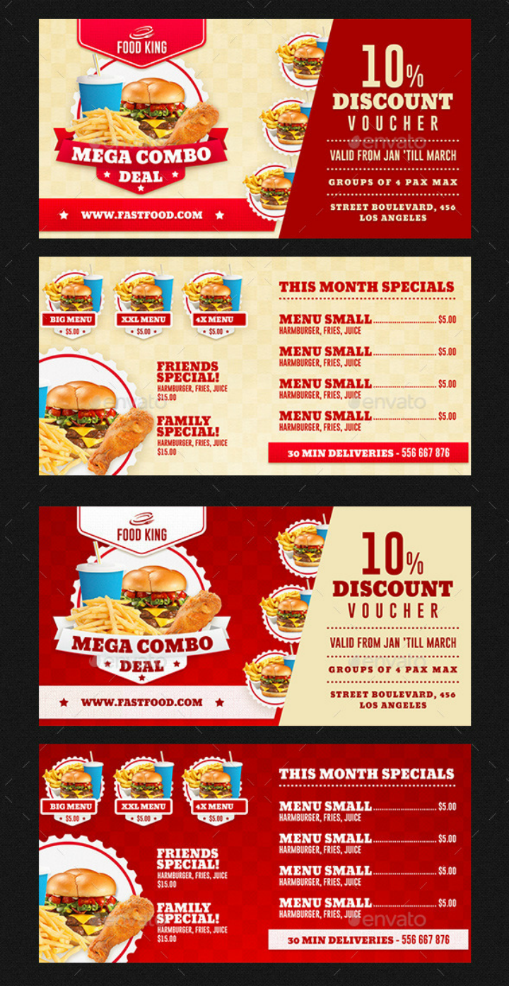 restaurant fast food discount voucher card template