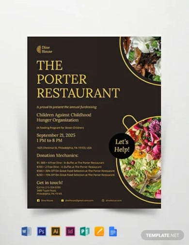 Restaurant Fundraising Flyer Designs
