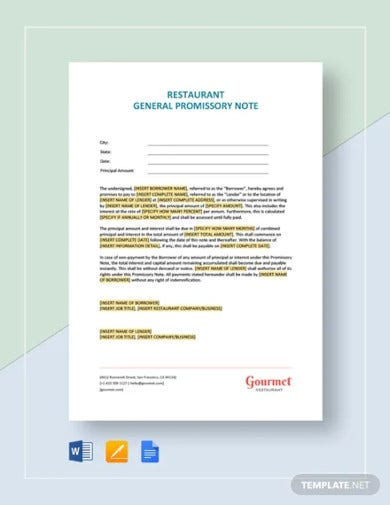 restaurant general promissory note template