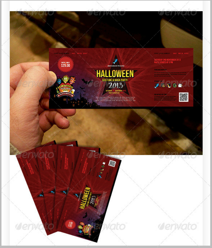 restaurant halloween party ticket menu brochure template