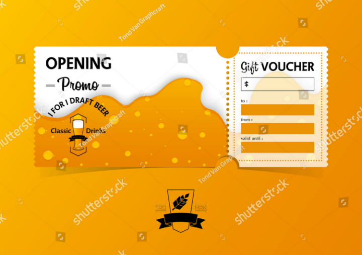 restaurant opening gift voucher ticket template design