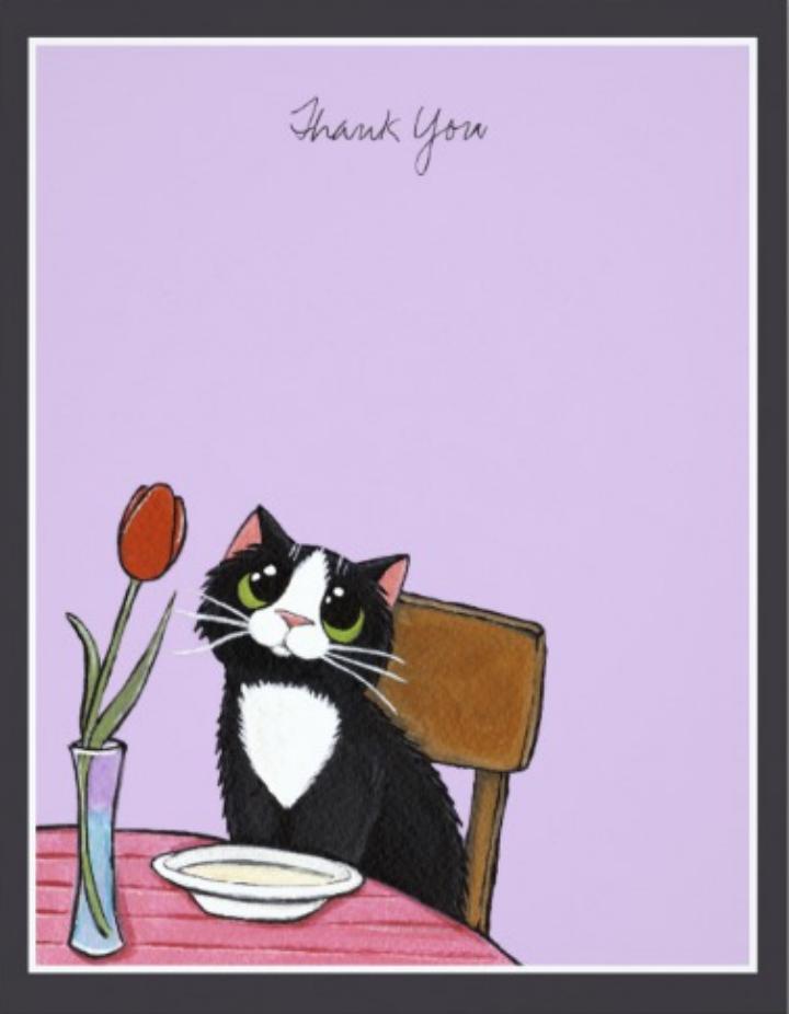 restaurant tuxedo cat thank you card template
