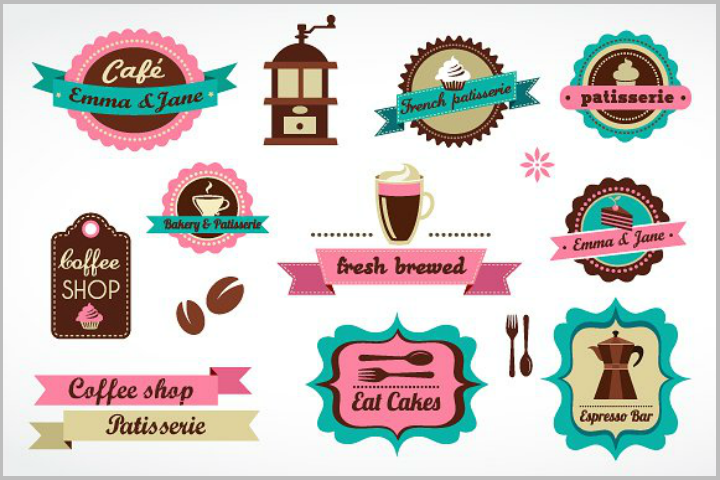restaurant and coffee shops label tag template