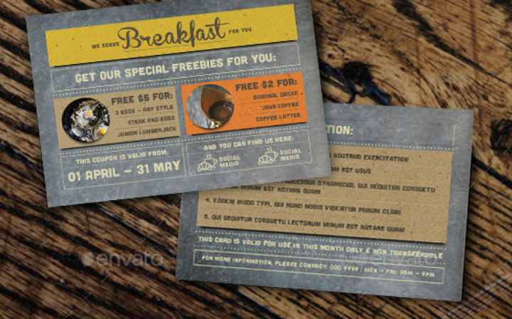 rustic breakfast discount coupon card template