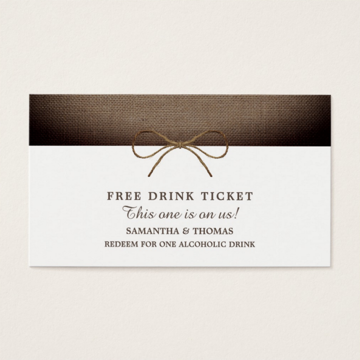 rustic burlap free drink restaurant ticket template