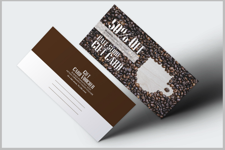 rustic cafe discount gift card template